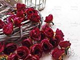 Wine Red Rose Bud Decorative Synthetic Flowers (Faux Silk) Mini Rose Buds (25)
