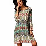 Women Dresses,Familizo Retro National Wind Loose Round Neck Dresses Clothes Autumn (UK:10(M), Green)