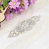 TRLYC Navy Blue Ribbon Wedding Belt Bridal Belt Wedding Dress Sash Crystal Rhinestone Applique