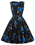 Women's Rockabilly Hepburn Style Full Skirt Dresses Party Wedding Dress(24,S)
