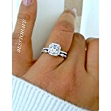 Ladies 925 Sterling Silver Asscher Cut Wedding Engagement Bridal Ring Set M
