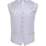 DQT New Swirl Jacquard Silver Men's Waistcoat - 40