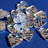 50 Small (2cm) Personalised Lucky Love Hearts Bridal Wedding Favours and Table Sprinkles / Confetti - Good luck charm - Acrylic - LittleShopOfWishes (Silver Mirror)