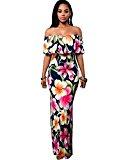 BIUBIU Women's Floral Off Shoulder Ruffle Bodycon Long Party Maxi Dress Rose Flowers Print UK 12