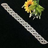 TRLYC Champagne Ribbon Wedding Bridal Belt Applique/Sash Stunning Rhinestone Trim
