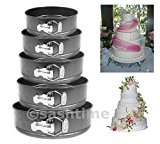 5pc Non Stick Springform Cake Pan Baking Bake Round Tray Tins Wedding Party