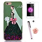 iPhone 6 Plus Glitter Case,iPhone 6S Plus Case for Girl,Tebeyy iPhone 6 Plus / 6S Plus 3D Creative Pretty Bride Wedding Dress [Liquid Glitter] Flowing Floating Bling Quicksand Hard Protective Case Cover with Sparkle Stars+Free Screen Protector+Free Flower Dust Plug+Free Stylus-Green