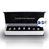 R-timer Women Crystal Stud Earrings with Swarovski Elements 18K Platinum-plated Wedding Jewelry Set 7 Pairs (Round-claw setting)