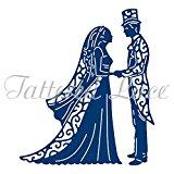 Tattered lace metal Die vintage Bride & Groom top hat & tails wedding etl381