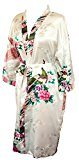 CC Collections Kimono dressing gown robe sexy lingerie night wear dress women lady bridesmaid hen night Japanese oriental peacock style luxurious silk satin rayon natural feel (White Pearl)