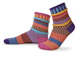 Solmate Socks - Odd or Mismatched Crew Socks for Women or for Men, Made with Recycled Cotton Yarns in USA, Carnation Medium