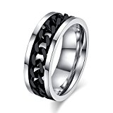 u-hoMEy Men's Stainless Steel Ring Wedding Band Cuban Spin Link Chain Unique