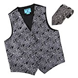 EGD2B02C-L Grey Working Day Patterns Microfiber Dress Tuxedo Waistcoats Vest Neck Tie Set Excellent For Bridegrooms By Epoint