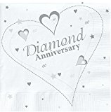 18 x Luxury Diamond 60th Wedding Anniversary Party Napkins