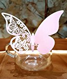 DIKETE® 50pcs Butterfly Place Cards Party Wedding Wine Glass Cup Decoration card [3D] [Hollow Pattern] Postcards Wall Decals Sticker for Christmas Engagement Birthday Favor [Pink] + 60pcs Glue Dots