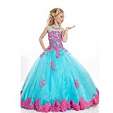 Abaowedding Appliques Wedding Party Ball Gowns Kids Beauty Pageant Dress (US 6, Blue)
