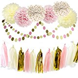 Furuix 20pcs Pink Cream Gold Tissue Paper Pom Pom Flower with Paper Tassel Garland Circle Garland for Pink Gold Birthday Wedding Party Decoration Baby Shower Bridal Shower Decoration
