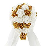 Vlovelife Mix White & Gold Glitter Wedding Bouquet Bridal Bridesmaid Artificial Foam Rose Flower Handmade Posy Pearl Rhinestone Plant Leaf Vine Satin Ribbon Decor