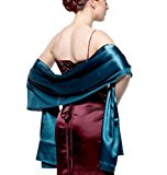 atopdress@200cmx 75cm soft satin Bridesmaid Bridal Bridesmaid Shawl Prom Wrap Draping Stole (200x 75cm, Teal Blue)