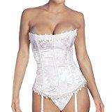 Shymay Women's Birdal Lingerie Overbust Push Up Lace Up Back Satin Boned Corset, White, Tag size XL=UK size Large