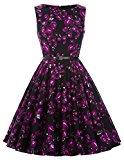 Women's Rockabilly Hepburn Style Full Skirt Dresses Party Wedding Dress(28,XL)