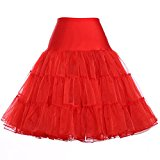 Grace Karin Women's 50s Petticoat Skirt, Red Medium