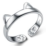 Infinite U 925 Sterling Silver Cat's Ear Adjustable Band Ring Size K for Birthday Gift/Valentine's day Gift