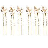 6 pcs Wedding Bridal Bridesmaid Gold Clover Faux Pearl Hair Pins Clip