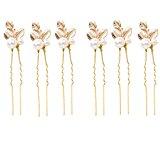 6 pcs Wedding Bridal Bridesmaid Gold Clover Faux Pearl Hair Pins Clip