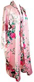 CCCOLLECTIONS Kimono dressing gown robe sexy lingerie night wear dress women lady bridesmaid hen night Japanese oriental peacock style luxurious silk satin rayon natural feel (Pink Baby)