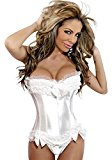 Ladies White Satin Sexy Boned Corset & G String Set Lace Up Bustier Lingerie 12-14 Bride Bridal