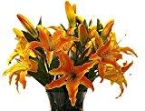 VLUNT Artificial Flowers Lily perfume Silk Rose Bridal Wedding Bouquet 6pcs set