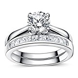 925 Sterling Silver Brilliant Diamond Cut Crystals Accent Love Forever Eternity Engagement Wedding Rings for women, teenage girls, Size UK M J L K N P Q R O S, with Gift Box, Ideal Gift for Christmas (I)