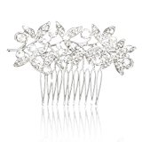 Phenovo 1pc Bridal Bridesmaid Women's Hair Comb Hair Accessories Rhinestone Leaf Pattern