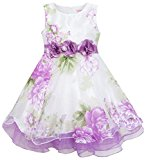 HA53 Girls Dress Tulle Bridal Lace With Flower Detailing Purple Size 6 Years