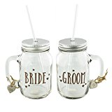 Bride and Groom Matching Set Of Mason Drinking Jars Wedding Gift