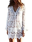 COCM10 Womens Long Sleeve V Neck Lace Sheer Loose Beach Boho Sun Block Blouse Bikini Cover Up Dresses Size S M L White
