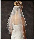 Clearbridal Women's 2 Tier Spark Bridal Pearl Wedding Veil With Comb 11001 Ivory