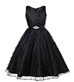 Arrowhunt Girls' Sleeveless V-Neck Lace Flower Bridesmaid Party Ball Gown Dress Black