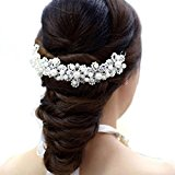 Fulltime(TM) Bridal Hair Jewelry Hair White Pearl Crystal Headdress By Hand Wedding Dress Accessories