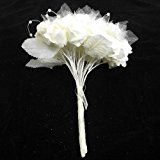 Ivory Glittery Foam Rose With Organza And Pearl Loops Hand-Tied Brides Bouquet