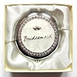 Silver Cream Wedding Compact Mirror Gift Diamante Entwined Hearts Bridesmaid