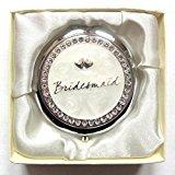 Silver Cream Wedding Compact Mirror Gift Diamante Entwined Hearts Bridesmaid