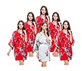 Set of 6 Hen Party Getting Ready Robes, OSFM, Lightweight, Short & Flirty, Wedding Dressing Gowns for Bride/Bridesmaids. 5 Candy Apple Red & 1 White Satin Peacock Kimono Robes