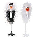 Funny Bride and Groom Feather Wedding Reception Pen Set