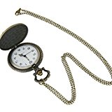 Pocket Watch Fob Watches Vintage Bronze Fancy Zodiac Sheep Pendant Long Chain Necklace Quartz Gift