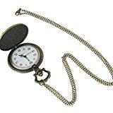 Pocket Watch Fob Watches Vintage Bronze Fancy Zodiac Sheep Pendant Long Chain Necklace Quartz Gift