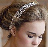 XinHe Headband Tiara Double Strip Diamond Elegant Luxury Handmade Jewelry Beads Bridal Wedding Evening Pageants Accessory Hair Head Band
