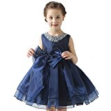 Girl's Dresses Bow Waist Band Tulle Sleeveless Party Wedding Formal Bridesmaid Princess Dress (10-11 years, Navy Blue)
