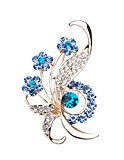 SevenAndEight Women's Vintage Bridal Rhinestone Crystal Flower Brooch Pin (Blue)